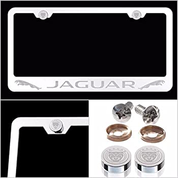 UFRAME Fit Jaguar Laser Engraved License Plate Frame Made of Industrial Grade Mirror Finished Chrome Stainless Steel w/Caps and Accessories