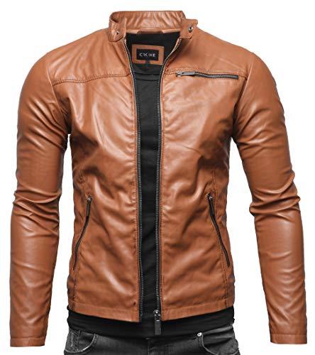 Crone Vego Herren Eco-Lederjacke Cleane Leichte Slim Fit Basic Jacke Vegan (XL, Cognac Vintage)