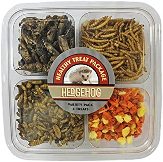 Hedgehog Treat Variety Pack (7 oz.) - Healthy Natural Hedgehog Treat Assortment - Dried Mealworms, Dried Calci-Yum Worms, Dried Crickets, Dried Apples & Carrots - Sampler Variety Value Package