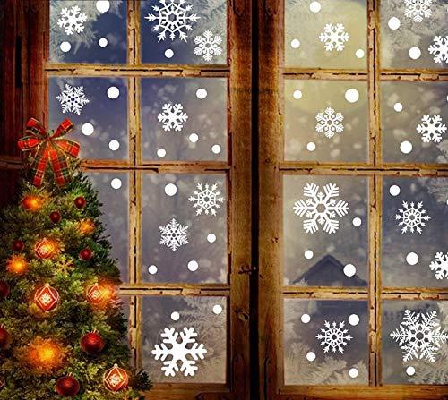 PfX 54 Schneeflocken Weihnachtsdeko Fensteraufkleber in Weiß - Wiederverwendbar - Statisch Haftend - Leicht zum anbringen ohne Kleber