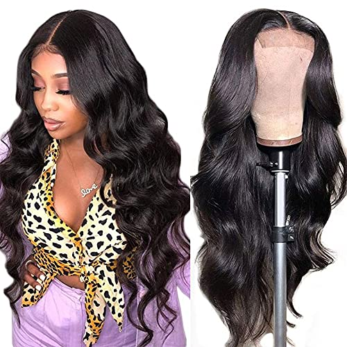 Azibo Body Wave Lace Front Wigs Human Hair Pre Plucked With Baby Hair Glueless 150% Density 4x4 Brazilian Lace Closure Human Hair Wigs For Women (20 inch, Natural Color)