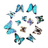 2 Set 24 Pezzi 3D Farfalle Adesivi Murale Decorazione Casa Stickers Murali Magnetici Adesivo Farfalla Ldeale Per Bambini Camera Cucina Piante da Giardino Decorazioni per Feste-Blu