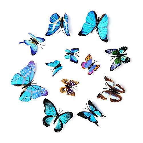 2Set 24 Piezas Pegatinas de Mariposa 3D Mariposa Pegatinas de pared Etiquetas Engomadas Mariposas Extraíble Mural de Pared Decorativo del Hogar Kids Room Decor del Dormitorio-Azul