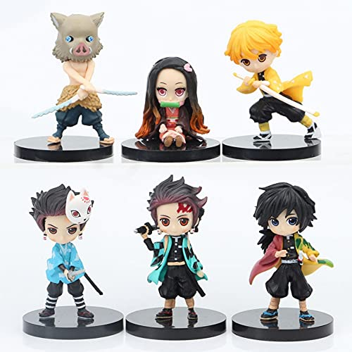 6Pcs Demon Slayer Cake Topper Figures Toy Set – Demon Slayer Theme Party Supplies – For Home Office Collectible…