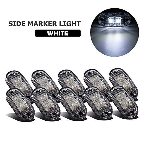 VIGORFLYRUN PARTS LTD 10x LED Luces Laterales del Marcador Luz de Gálibo para 12V 24V Remolque Camioneta Caravana Camión Camión Autobús SUV - Blanco