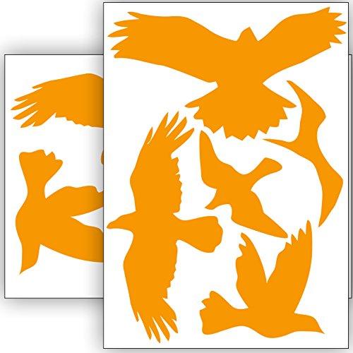 Vogelschutz und Fensterschutz - 10 Aufkleber - Schutz vor Vogelschlag - Sticker Vögel (Orange)