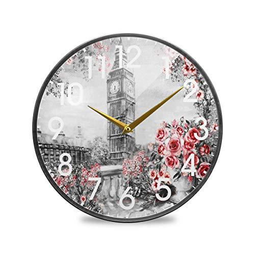 Londres Big Ben Inglaterra Pintura al óleo Rosa Reloj de Pared Redondo Funciona con Pilas Cuarzo silencioso sin tictac para el hogar Sala de Estar Oficina Cocina Dormitorio