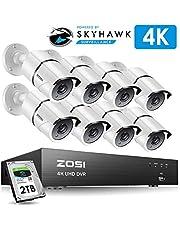 ZOSI 230万画素防犯カメラセット フルハイビジョン 230万画素 防犯カメラ8台 +ミニ 8ch AHDデジタルレコーダー ネットワーク機能 パソコンやスマホ遠隔監視対応 日本語対応 HDD2TB付き付き