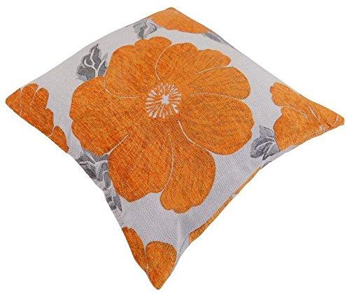 'Amapola naranja blanco plata chenilla de grosor almohada funda de cojín 22–55cm