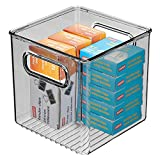 mDesign Plastic Home Office Storage Organizer Container with Handles - for Cabinets, Drawers, Desks, Workspace - Holds Pens, Pencils, Highlighters, Notebooks - 6' Cube - Smoke Gray