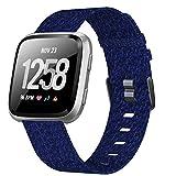 XIMU Bands Compatible with Fitbit Versa/Versa 2 / Versa Lite, Soft Woven Fabric Replacement Band Quick Release Canvas Strap Wristbands Accessories Women Men for Versa Smart Watch