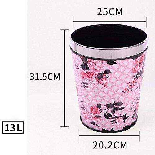 Wddwarmhome Feuille de feuille rose Matériau de cuir conique Creative Pas de couverture Poubelle Accueil Salon Chambre à coucher Salle de bain Cuisine Petite poubelle en plastique Poubelle à Couche ( taille : 13L )