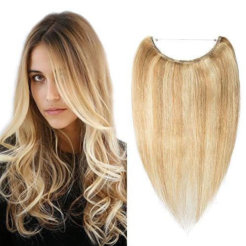 Haarverlängerung Extensions Echthaar mit Unsichtbarer Draht 1 Tresse Haarteil Remy Haare Haarverdichtung Glatt Honigblond/Hellblond #18p613-1 16