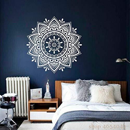 Mandala calcomanía de pared Boho Yoga pegatina de pared dormitorio familiar sala de estar flor arte extraíble Mural adhesivo A2 57x57cm