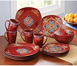 Better Homes and Gardens Medallion 16-Piece Square Dinnerware Set Made of stoneware, Dishwasher and microwave safe, Red