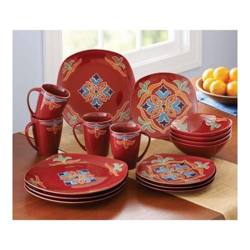 Microwave and Dishwasher Safe Stoneware Set: Amazon com
