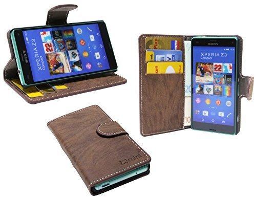 ENERGMiX Elegante Buch-Tasche kompatibel mit Sony Xperia Z3 Compact (D5803) in Braun Wallet Book-Style