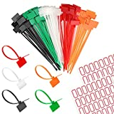 Nylon Marker Cable Ties,Self-Locking Cord Tags Marker Label with Write on Cable Tag, Ethernet Wire Zip Ties Power Marking Label(5 colors, 150 pieces)