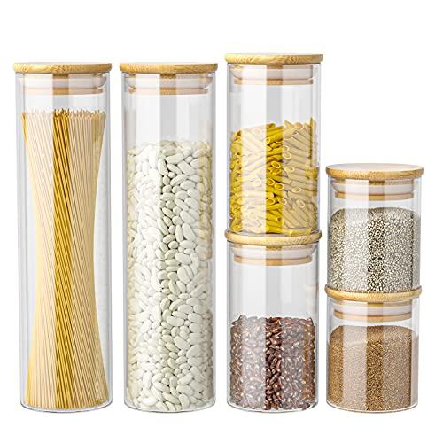 Tarro de Vidrio de Almacenamiento Set de 6, Botes de Cristal Cocina con Tapa de Bambú para Conservas Envases Cristal Alimentos, Tarro Recipiente para Pasta Harina Azúcar Té Frijol Espaguetis