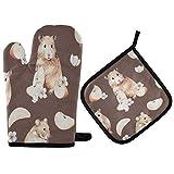 TropicalLife ADMustwin - Juego de guantes de horno y soporte para ollas, diseño de animales de marmota, con forro de algodón, juego de 2 unidades