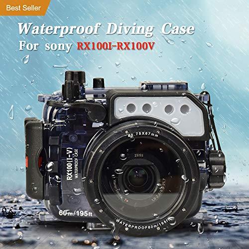 Per Sony RX100 RX100II RX100III RX100IV RX100 V 195 piedi/60m custodia subacquea impermeabile (custodia + filtro rosso)
