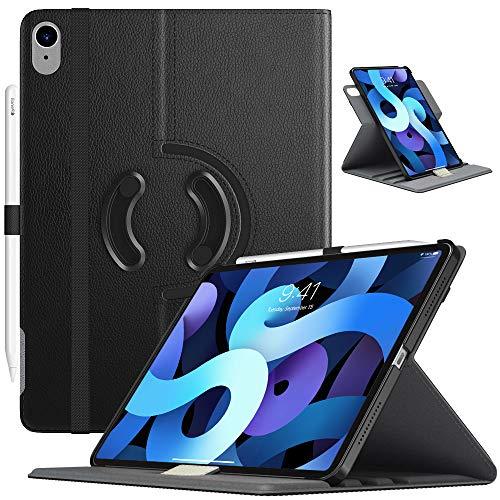 TiMOVO Hülle für iPad Air 4. Generation 10.9 Zoll 2020, 90° Drehbar PU Lederhülle Multi-Winkel Hülle Auto Schlaf/Wach Ständer, Schwarz