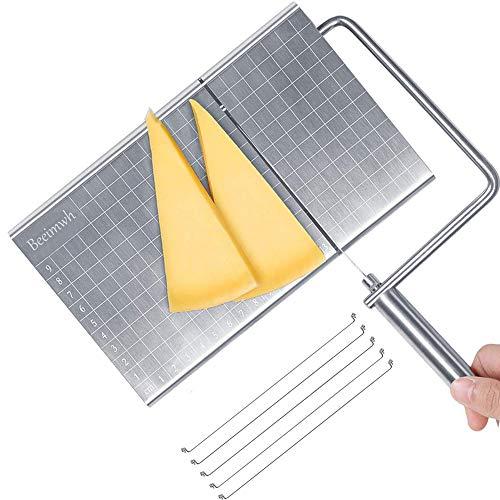 Cortador de queso, cortador de queso de acero inoxidable con escala de tamaño exacto, cortador de queso de alambre para mantequilla de queso equipado con 5 cables reemplazables para cortar queso