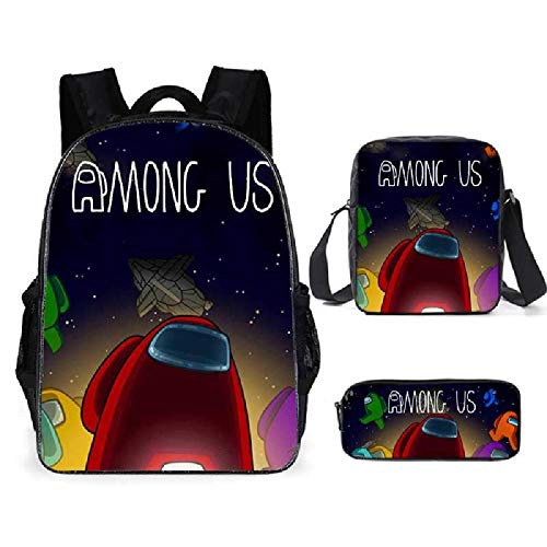ZBK Game Among US Theme Laptop Backpack,School Bag Set with Shoulder Bag and Pencil Case for Boys and Girls-9 Colors