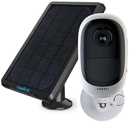 Reolink Akku Überwachungskamera aussen, WLAN IP Kamera Argus Pro mit Solarpanel, 2,4GHz WiFi, 1080p HD, PIR Bewegungsmelder, 2-Wege-Audio und SD Kartenslot