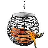 Urisgo Alimentador de pájaros al Aire Libre Soporte de Bola Resistente a la Intemperie Alimentador de pájaros Colgante de Metal Redondo Negro