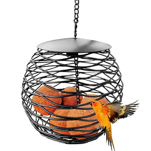 Naugust Comedero para pájaros Salvajes al Aire Libre, Marco Colgante de Metal Redondo Negro, césped y jardín, Uso al Aire Libre, Disfrute de la observación de Aves o Aves