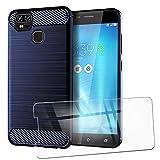 QFSM Verre trempé + Protection Coque pour ASUS Zenfone 3 Zoom ZE553KL Fibre Carbonique Antichoc Cover Case Étui Silicone Bleu...