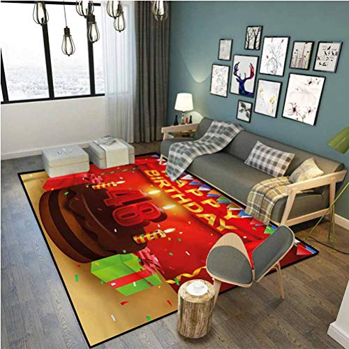 48th Birthday Ultra Soft Rug Ultra Soft Modern Area Rugs Present Cake Candle 6 x 2.5 ft