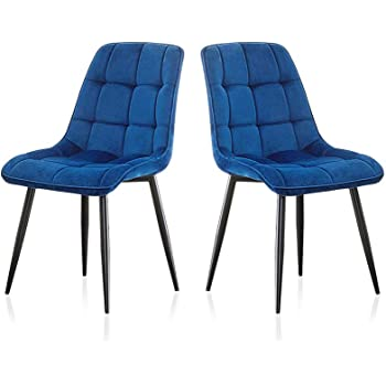 Tukailai Dining Chairs Soft Seat Back Velvet Living Room Chairs With Sturdy Metal Legs Kitchen Dining Room Chairs Set Of 2 Living Room Reception Office Chairs Amazon De Kuche Haushalt