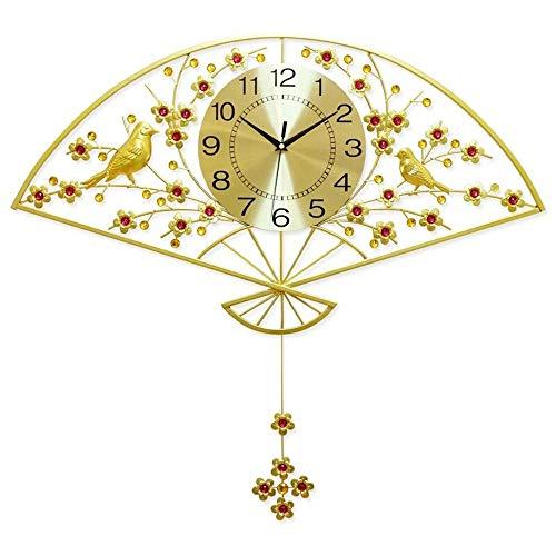 HY Retro Japonés Metal Cepillado del Oro del Diamante Reloj De Pared Sala De Estar Comedor Dormitorio Ventilador Forma del Pájaro De Pared Antiguo Reloj De 62x64cm