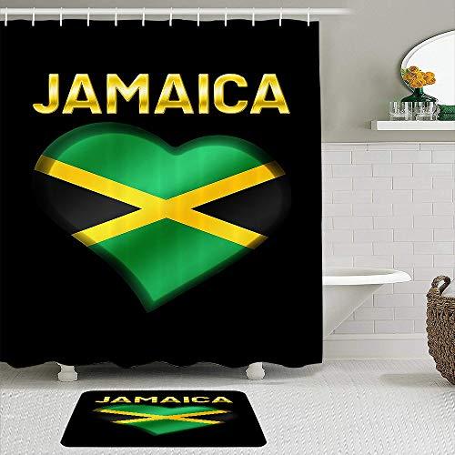 PbbrTK Stoff Duschvorhang & Matten Set,Jamaika,wasserdichte Badvorhänge mit 12 Haken,utschfeste Teppiche