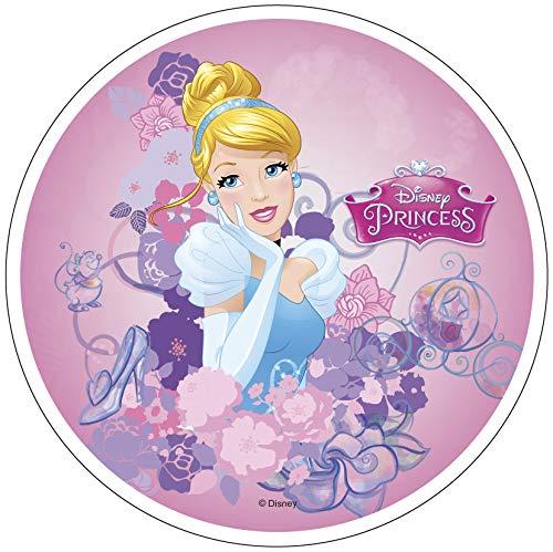 Decoración comestible para tartas de Cenicienta Princesa 20 cm, 20 cm, producto con licencia. Modecor.
