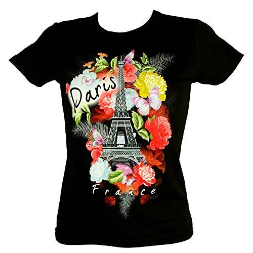 T-Shirt Femme Paris Bouquets de Fleurs - Noir (M)