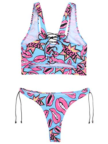 CHICTRY Women's 2 Pieces Lace-Up Lips Printed Bikini Set Padded Bra Tank Top and Briefs Swimsuit Blue M