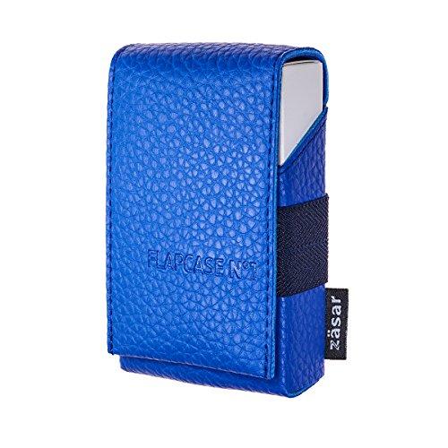 ZÄSAR FLAPCASE N°1 ? Blue Blu ? Designer Zigarettenetui, Made in Austria, Leder vegan Zigarettenbox für 19, 20, 21 Zigaretten Packungen, regular King-Size