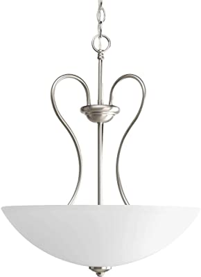 Westinghouse 6226600 Fontane Three-Light Interior Pendant Brushed Nickel Finish with Frosted Glass