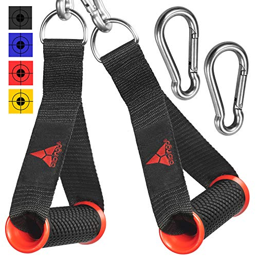 allbingo Pro Cable Handles Compatible with Cable Machines and Bowflex, Heavy Duty Exercise Hand Grips Attachment with 2 Carabiners for Resistance Bands Total Home Gym (Black/Red, Heavy Duty)