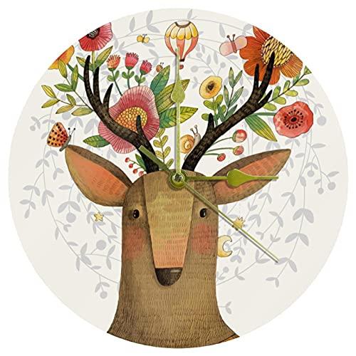 Yoliveya Reloj de pared redondo silencioso colorido ciervo con flores en la cabeza, reloj decorativo sin garrapatas, para regalo, hogar, oficina, cocina, guardería, sala de estar, dormitorio,
