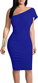 Women's Sexy One Shoulder Bodycon Midi Formal Cocktail Party Dress