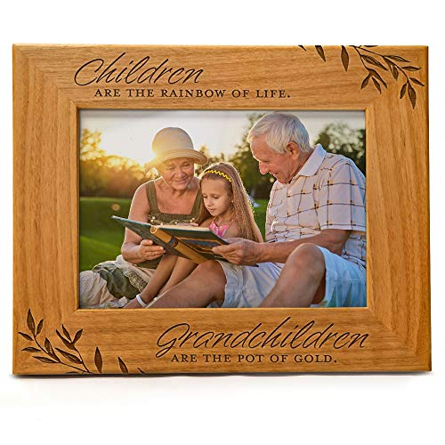 Cedar Crate Market Children are The Rainbow of Life. Grandchildren are The Pot of Gold, Engraved Natural Wood Photo Frame Fits 5x7 Horizontal Grandparents Picture Frames Gifts, Grandma, Grandpa, Mimi