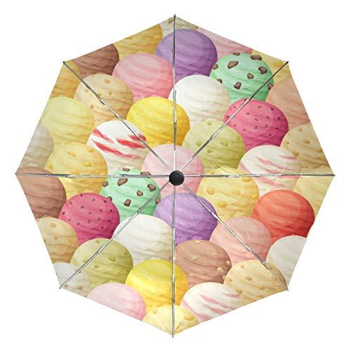 Ombrello da viaggio piccolo Antivento da esterno Pioggia da sole UV Auto compatto Copri ombrelli 3 pieghe - Palline per gelato Seamless Pattern Vector