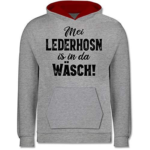 Shirtracer Oktoberfest & Wiesn Kind - MEI Lederhosn is in da Wäsch! - schwarz - 128 (7/8 Jahre) - Grau meliert/Rot - Bayern - JH003K - Kinder Kontrast Hoodie