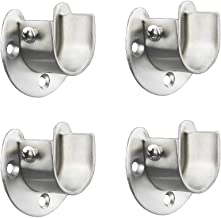 FYTRONDY Stainless Steel Wardrobe Closet Rod Bracket, U-Shaped Open Type Socket Bracket, Shower Curtain Rod Pole End Supports Sockets Flange (1-1/4 INCH, 4 Pack)
