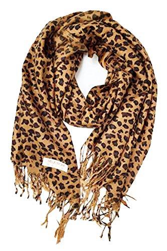 Animal Print Fringed Shoulder Pashmina Feel Wrap Scarf - Leopard Patterns