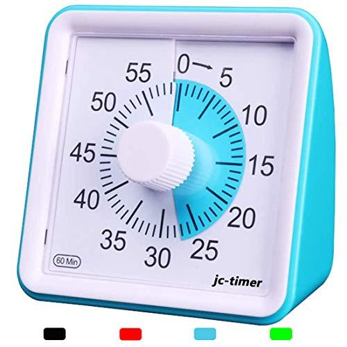 LivingHall タイマー キッチン 60分 視覚タイマー 教室のカウントダウンクロック 子供と大人のためのサイレントタイマー 授業時間管理ツール (ブルー, 7.8cmX7.8cmX4cm)